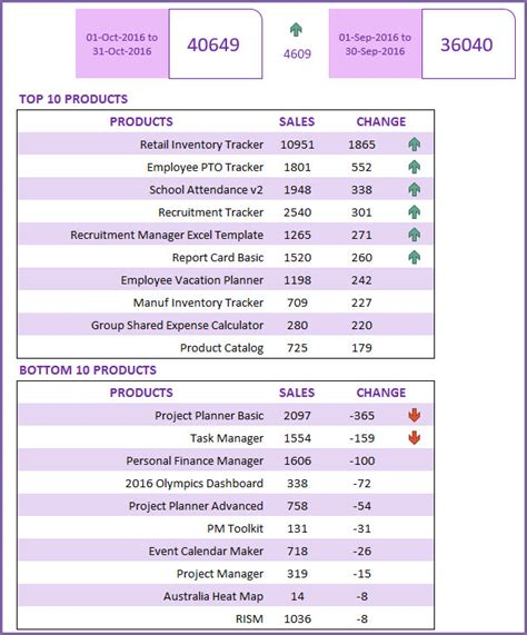 sales summary template sales report excel template top 10 bottom 10 products