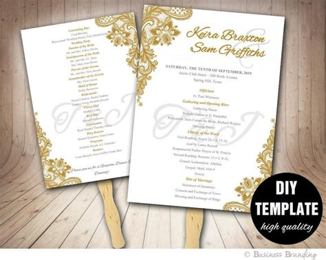 gold wedding program fan template diy instant