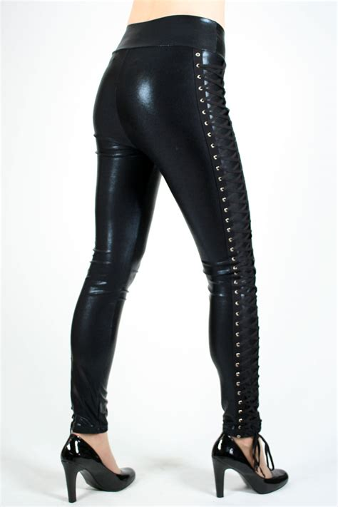 Lace Legging shiny black lace up vinyl look plus size