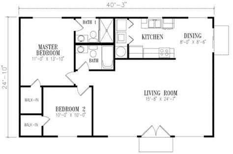 floor plan 1000 square foot house 1000 square feet 2 bedrooms 2 batrooms on 1 levels