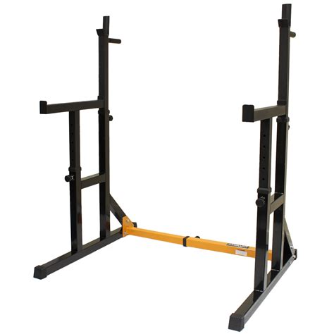 mirafit adjustable squat rack dip stand barbell weight