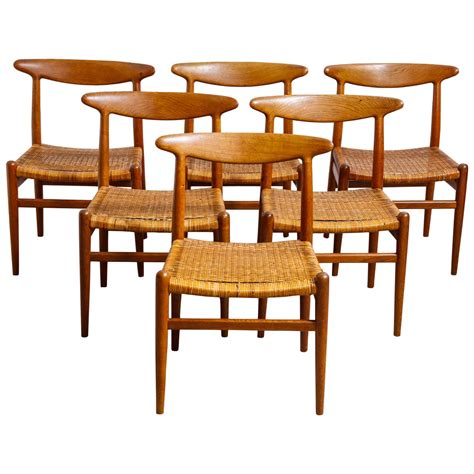 Six Dining Chairs Set Of Six Hans Wegner W2 Dining Chairs For Madsens Denmark For Sale At 1stdibs