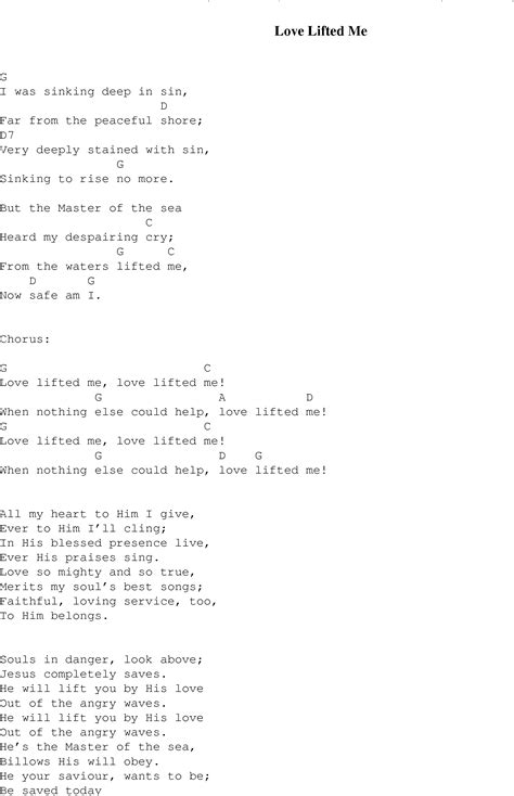 sinking deep guitar chords love lifted me christian gospel song lyrics and chords