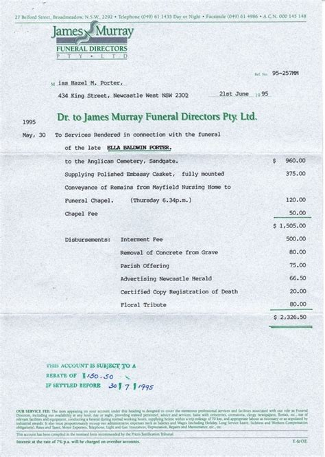 funeral receipt template correspondence invoice from murray funeral