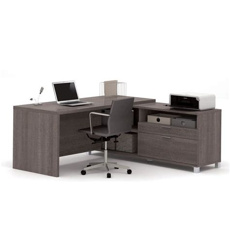 Grey L Shaped Desk Bestar Pro Linea L Shape Desk In Bark Grey 120863 47