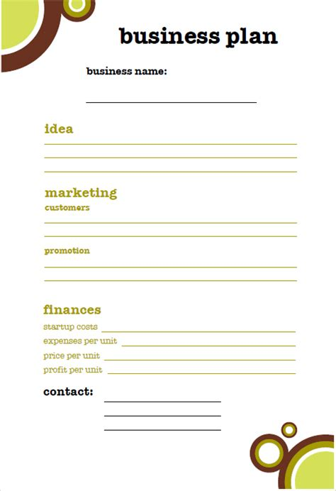 small business plan template pictures to pin on pinterest