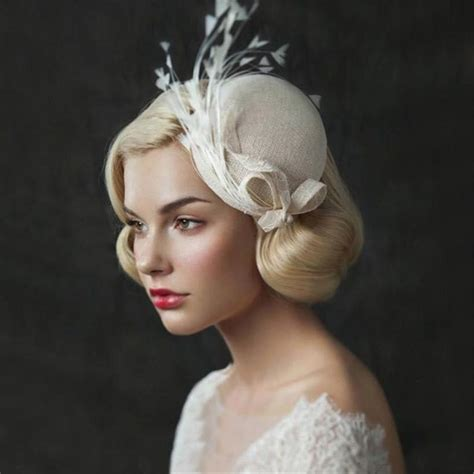 Wedding Hair Accessories Derby by Wedding Bridal Ivory Pillbox Hat Cap Feather Headpieces