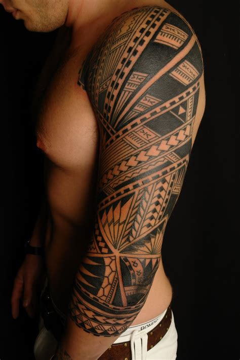 mens tattoo sleeve shane tattoos polynesian sleeve