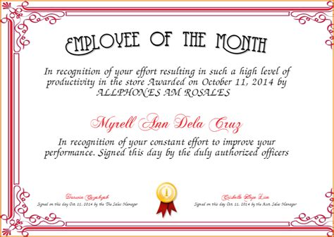 employee of the month certificate template easychess info