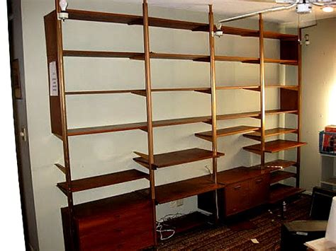Pole Shelf System by Tension Pole Shelving Cupboard Divider Mid Century Room