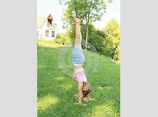 Girl Training Handstand Stock Photo - Image: 42647806 Kids Exercising