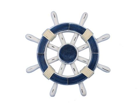 buy rustic blue and white decorative ship wheel 12
