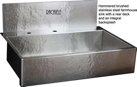 Hammered Farmhouse Sink With Integral Backsplash