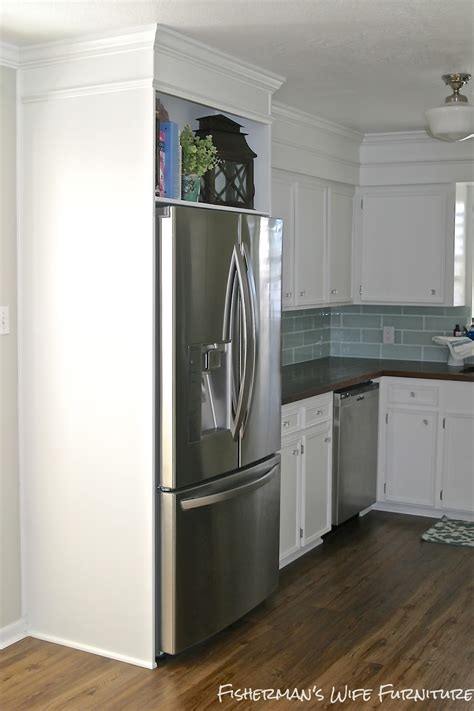 fridge kitchen cabinet small white kitchen makeover with built in fridge