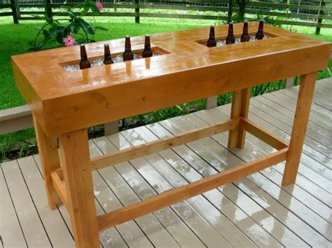 Wooden Bar Table Wood Bar Table Handmade With Coolers Chest By Socialwood 950 00 Outdoors Pinterest