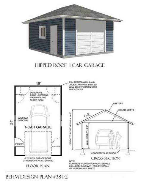 16 x 24 garage plans 1 car hipped roof garage plan no 384 2 16 x 24 garage