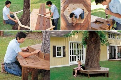 diy tree bench how to build a bench around a tree home design garden