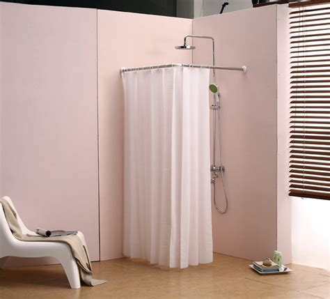 shower curtain for corner bath l bathroom curtain cloth hanging rod corner shower curtain rod right angle adjustable length