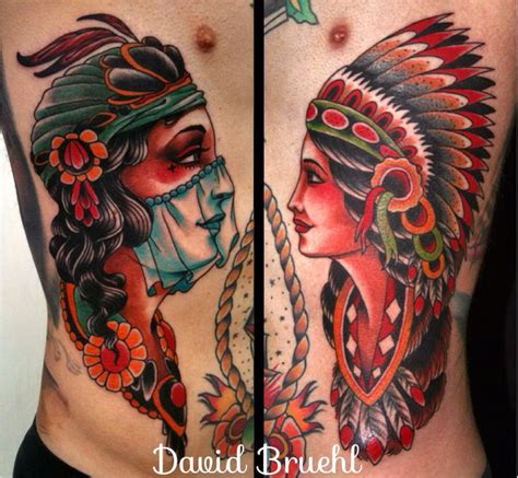 american traditional gypsy tattoo colorful traditional western americana folk