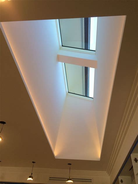 led küchenbeleuchtung skylight and light well with led strips along the