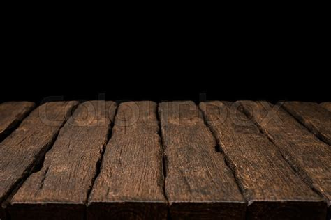 rustic wooden table top  solid stock photo