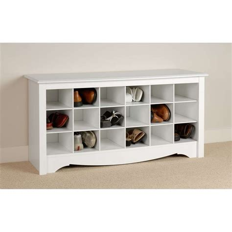 hallway storage bench for shoes prepac white shoe storage cubbie bench wss 4824 ebay