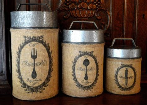 rustic kitchen canister sets vintage rustic burlap canister set of 3 by vintagewicksnmore