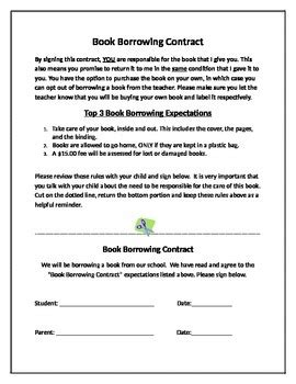 book borrowing contract by kelly ksiazek teachers pay