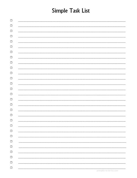 blank list template 5 best images of printable task list forms blank to do
