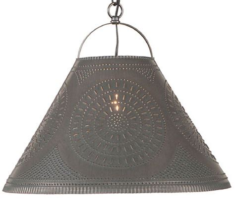 Large Hanging Punched Tin Shade Lamp Primitive Ceiling Tin Pendant Light