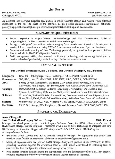 software engineer resume exle technical resume