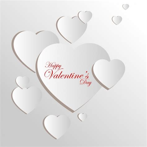 3d valentines card template card template 3d design white hearts ornament free vector in adobe illustrator ai