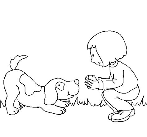 little dog coloring page little girl and dog playing coloring page coloringcrew com