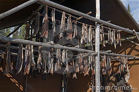 Salmon Rack by Salmon Being Smoked On Rack Royalty Free Stock Photos