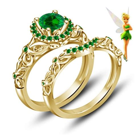 disney tinker bell fairies engagement ring band gold