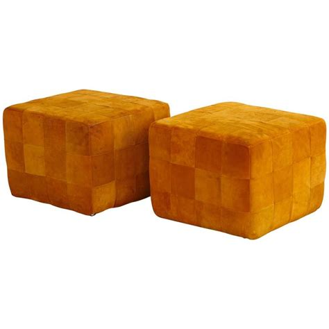 colored ottomans pair of cognac colored buckskin ottomans by stendig made