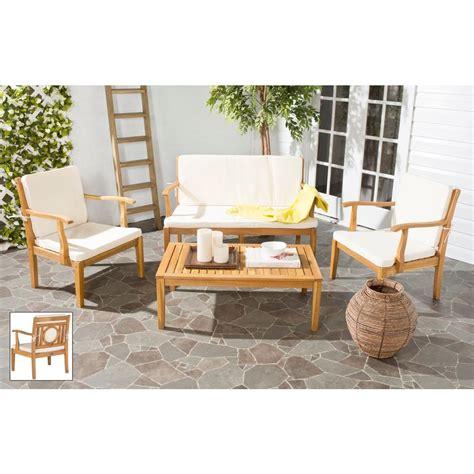 safavieh montclair teak brown 4 patio seating set