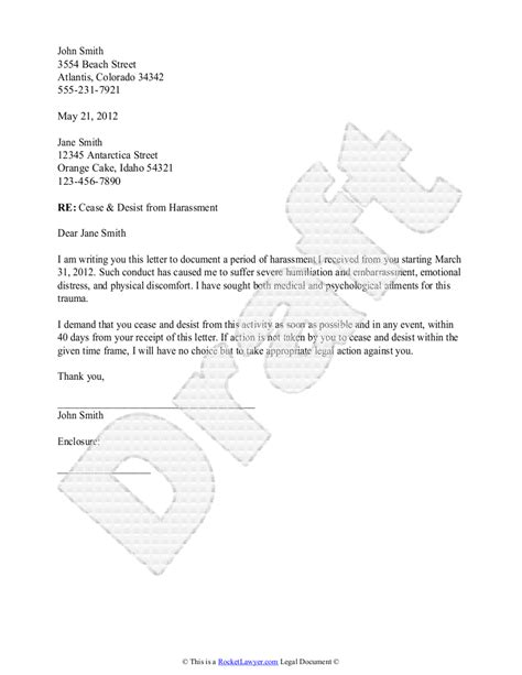 cease and desist letter harassment template cease and desist letter template with sle