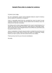 Request Letter To Judge Sle Sle Letter To Judge For Leniency Sle Business Letter