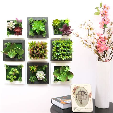 Artificial Plant Decoration Home 3d Plant Wall Sticker Home Decor Wall Artificial Flowers Decor Frame 3d Plant Wall