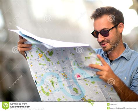 lost man   map stock image image  cheerful lost