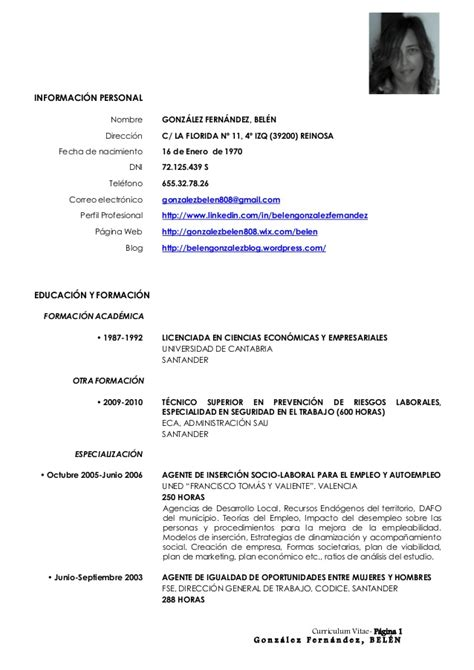 Modelo Curriculum España Descargar Cv 2013