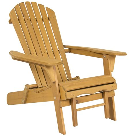 Outdoor Patio Chairs With Ottomans Outdoor Adirondack Wood Chair Foldable W Pull Out Ottoman Patio Deck Furniture Ebay