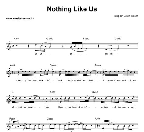 justin bieber nothing like us krafta justin bieber nothing like us 악보 뮤직스코어 악보가게