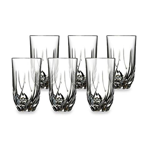 bed bath and beyond glasses lorren home trends trix crystal highball glass set of 6