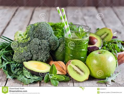 Detox With Fruits And Vegetables by Green Smoothie Stock Photo Image 52033517