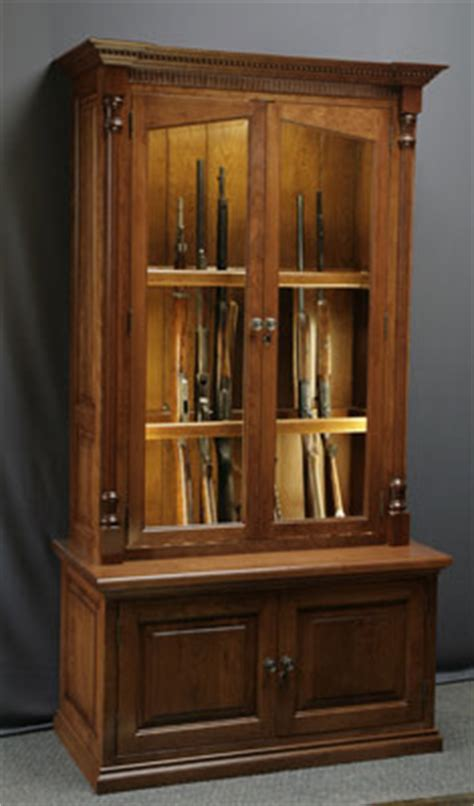 Handmade Gun Cabinet - woodloft amish custom made cherry gun cabinet with fly