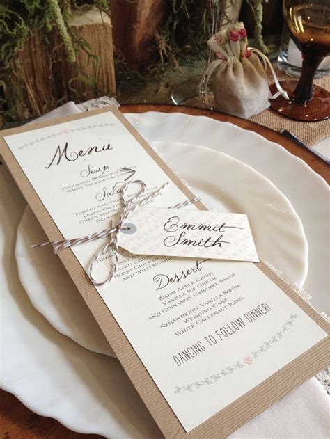 menu place cards template this rustic menu and place card