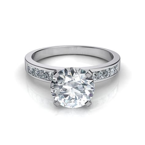 pin three engagement ring with channel set princess