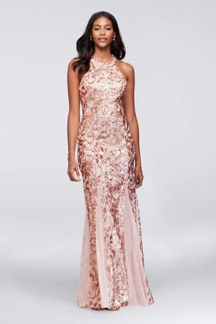 glitter lace  jersey high neck gown  godets david